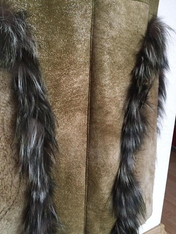 Натуральная зимняя дубленка с ремешке dudex с блеском - Фото 9