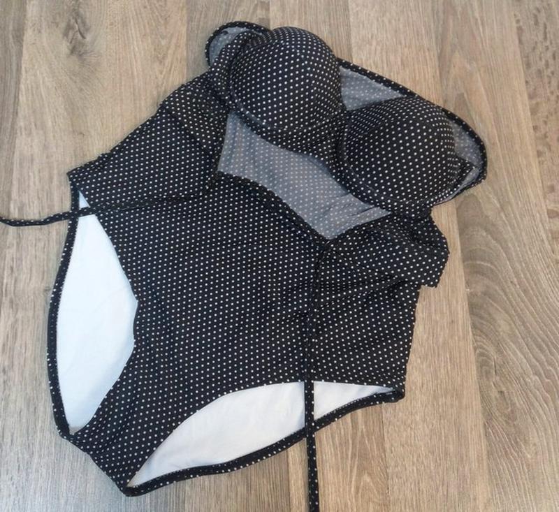 Купальник слитный сдельный черный в горошек l - Фото 2