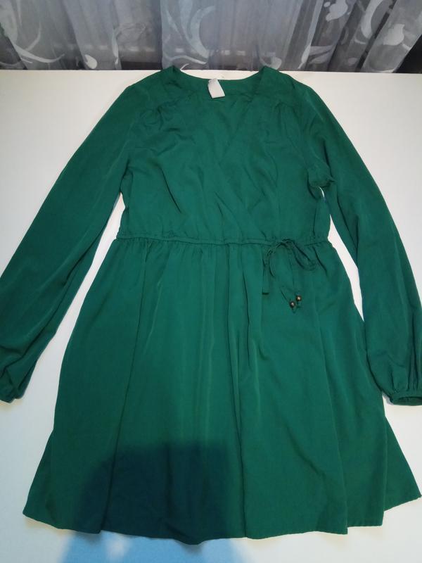 Зеленое платье на запах vila clothes