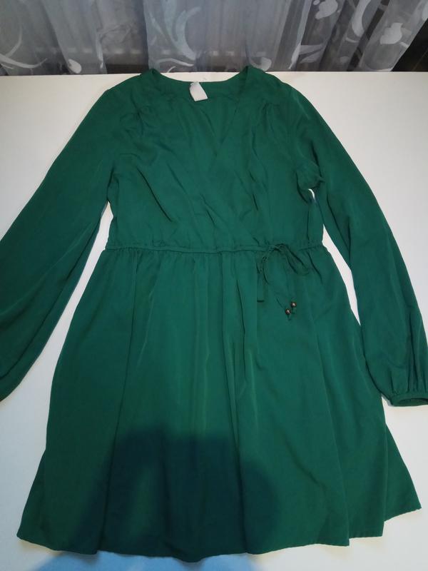 Зеленое платье на запах vila clothes - Фото 2