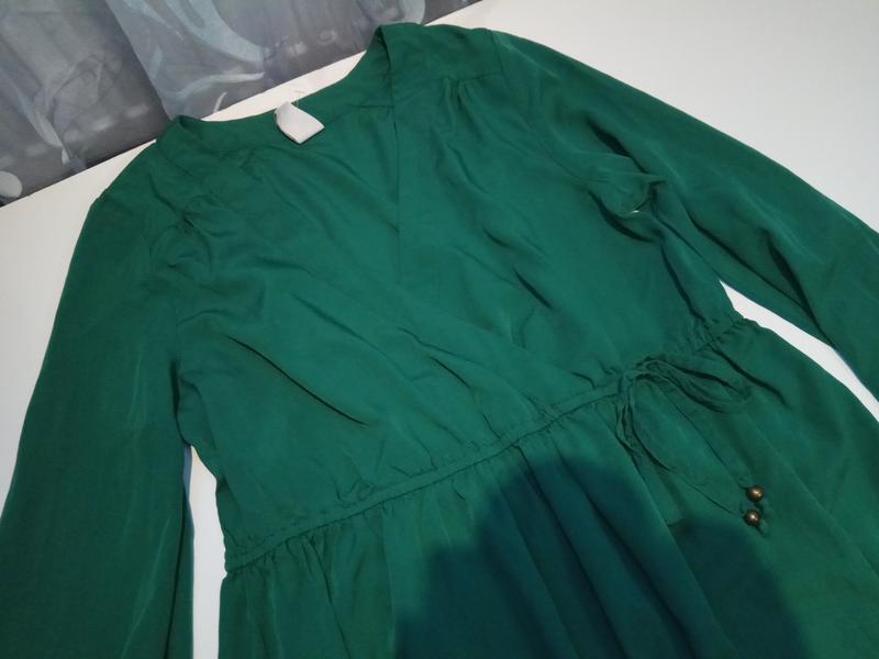 Зеленое платье на запах vila clothes - Фото 3