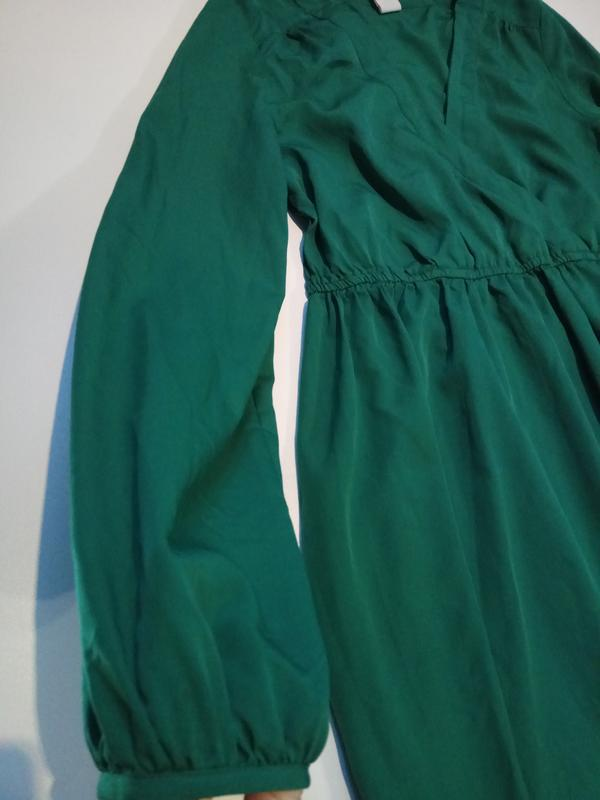 Зеленое платье на запах vila clothes - Фото 4