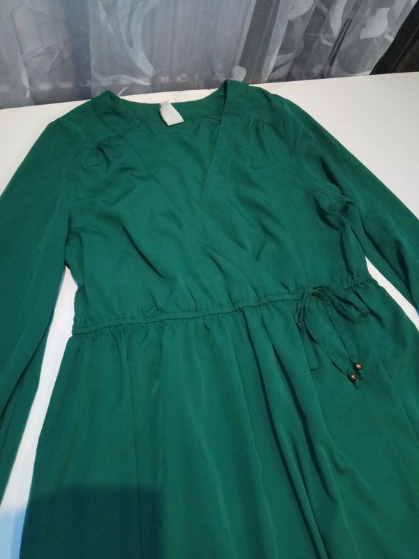 Зеленое платье на запах vila clothes - Фото 6