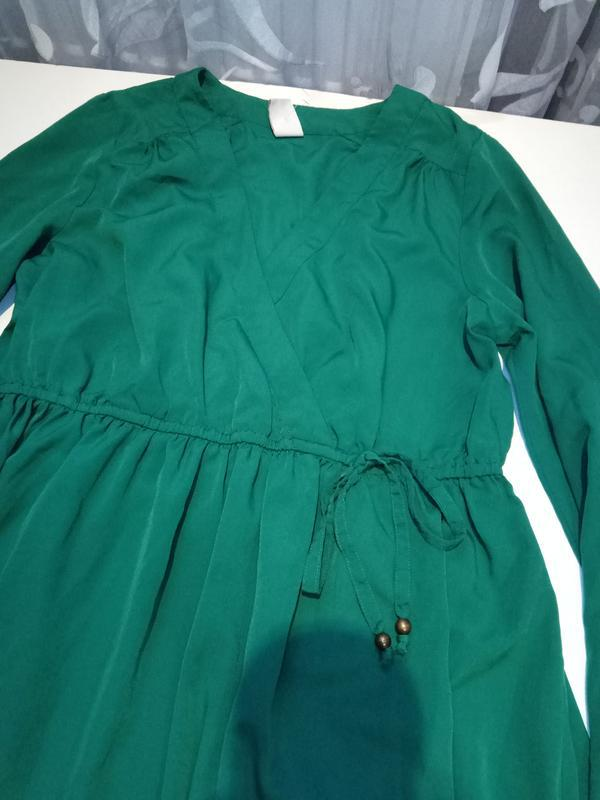 Зеленое платье на запах vila clothes - Фото 7