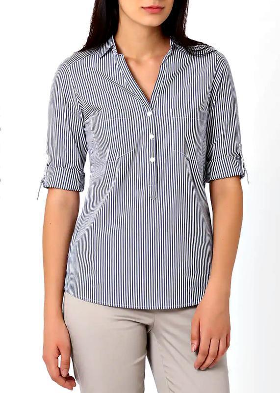 Скидка до 20.02! стильная блузка-рубашка в сине-голубую полоск...