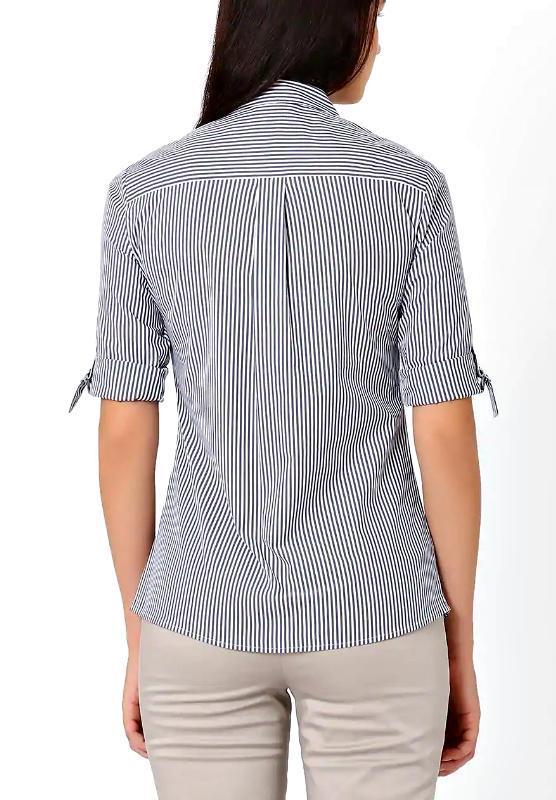 Скидка до 20.02! стильная блузка-рубашка в сине-голубую полоск... - Фото 2