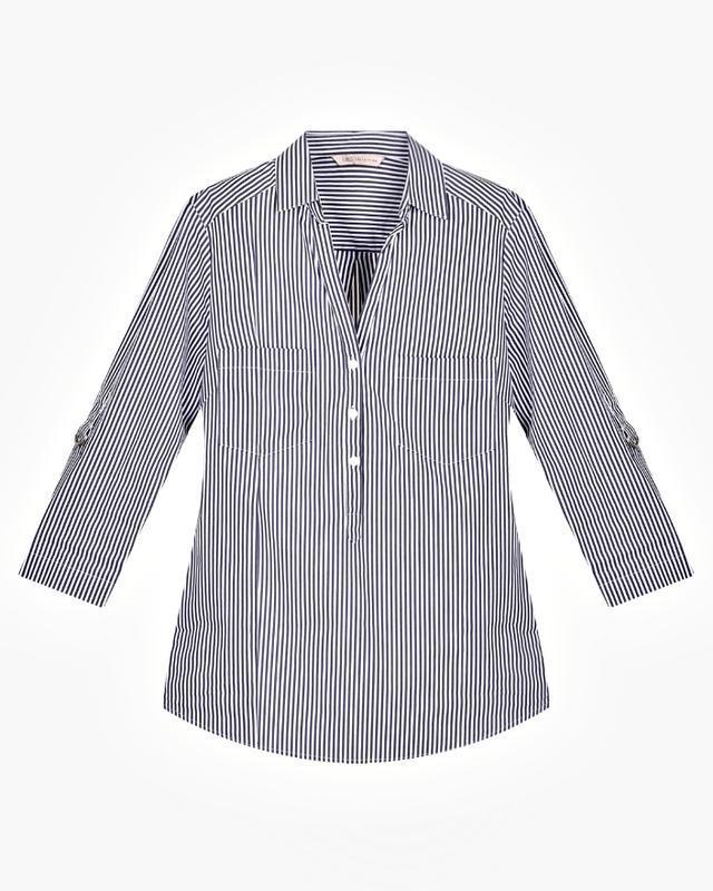 Скидка до 20.02! стильная блузка-рубашка в сине-голубую полоск... - Фото 3