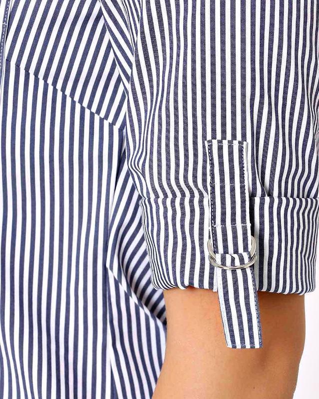 Скидка до 20.02! стильная блузка-рубашка в сине-голубую полоск... - Фото 4