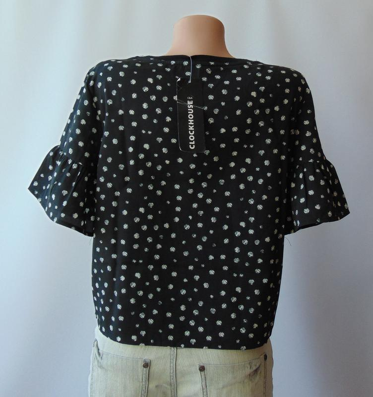 Короткая шифоновая футболка с принтом c&a clockhouse - Фото 3
