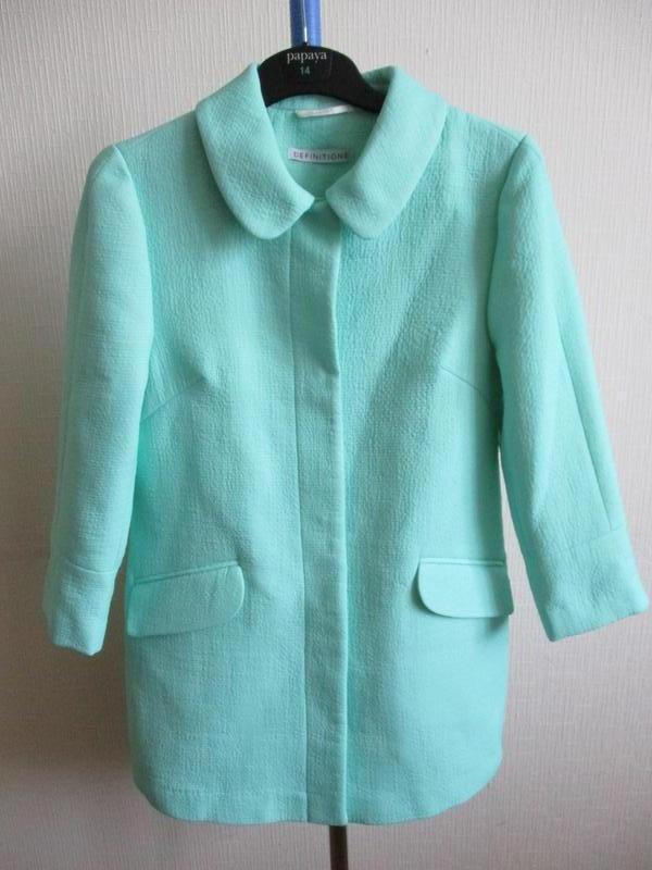 Нежный мятный удлиненный жакет-пальто definitions - Фото 6