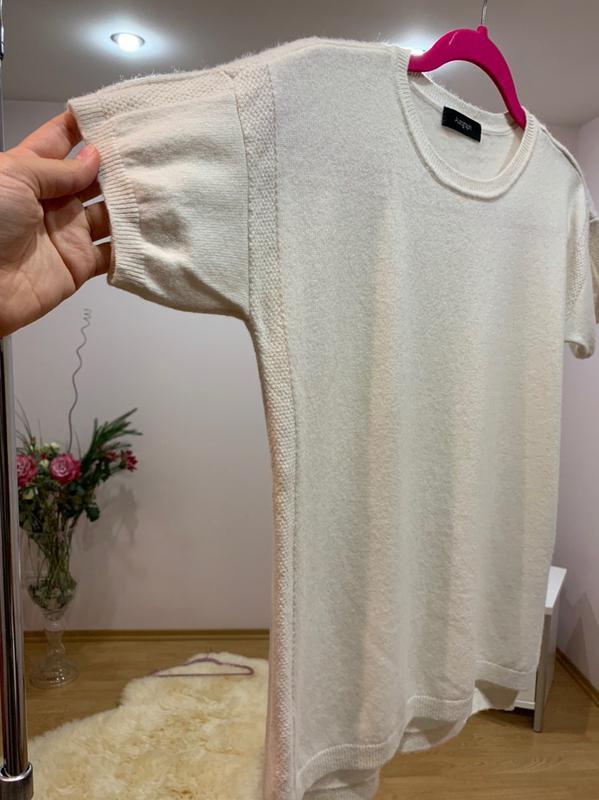 Кашемировый свитер с коротким рукавом - Фото 5