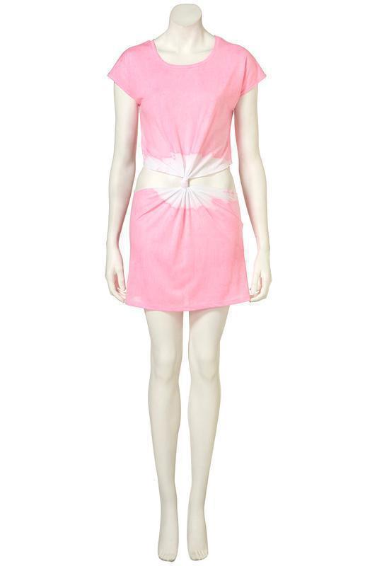 Идеальное платье topshop pink cut out tie dye tunic - Фото 2