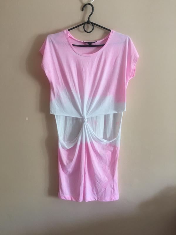 Идеальное платье topshop pink cut out tie dye tunic - Фото 4