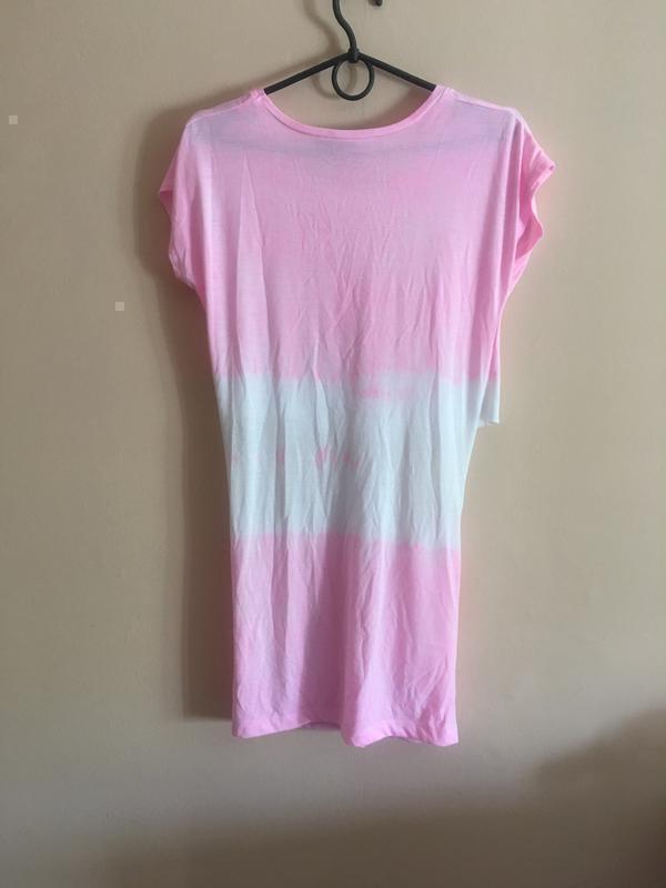 Идеальное платье topshop pink cut out tie dye tunic - Фото 5
