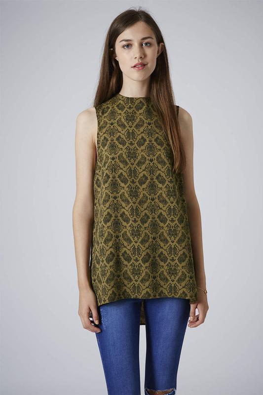 Блуза туника topshop змеиный принт snake print high neck tunic