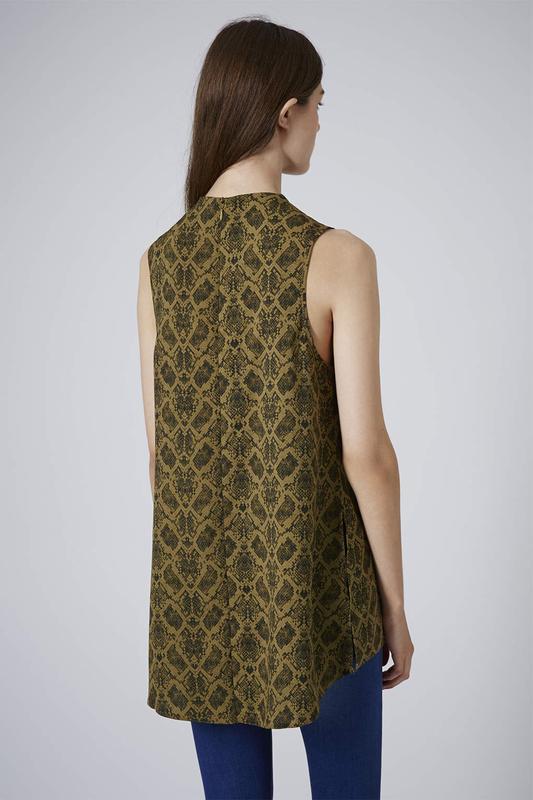 Блуза туника topshop змеиный принт snake print high neck tunic - Фото 2