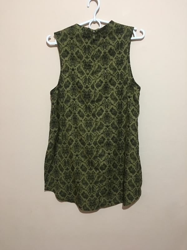 Блуза туника topshop змеиный принт snake print high neck tunic - Фото 3