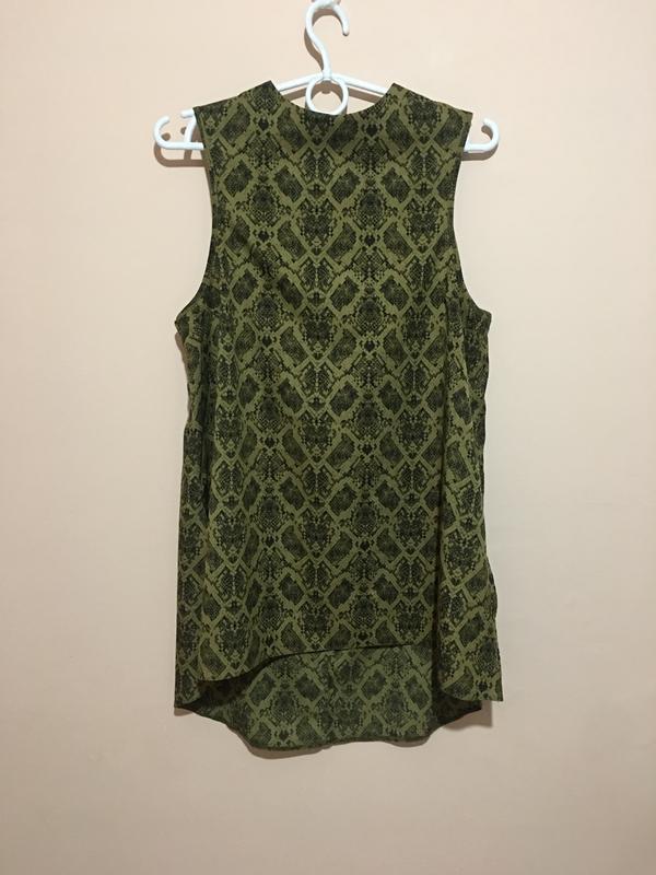 Блуза туника topshop змеиный принт snake print high neck tunic - Фото 4