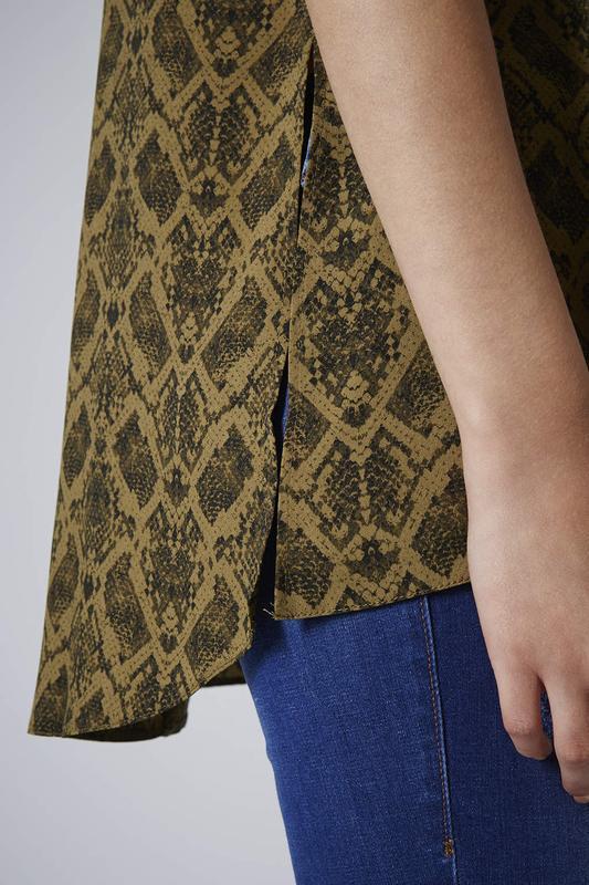 Блуза туника topshop змеиный принт snake print high neck tunic - Фото 6