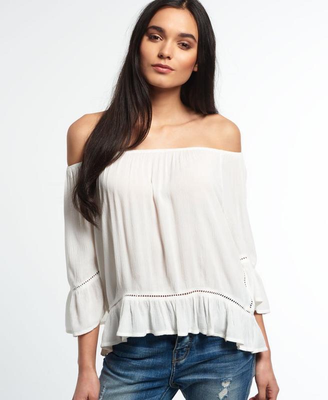 Блузка superdry folk dream blouse с открытыми плечами
