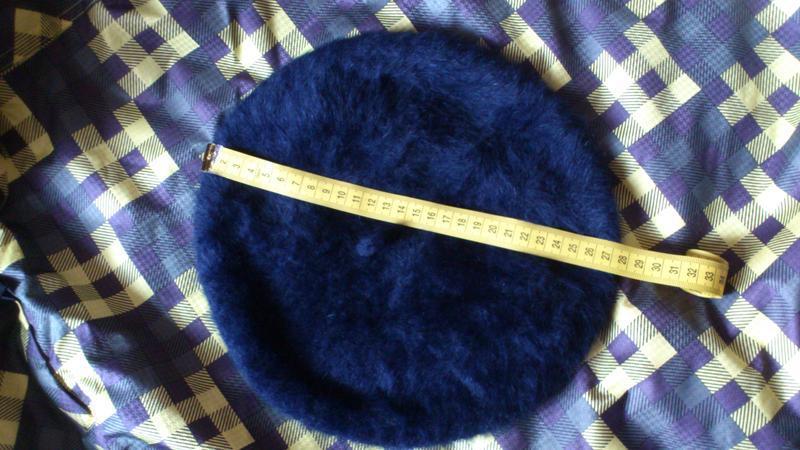Берет теплый большой шапка шляпка синего цвета kangol 55% анго... - Фото 4