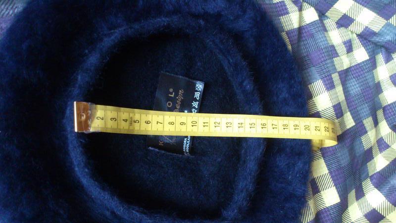Берет теплый большой шапка шляпка синего цвета kangol 55% анго... - Фото 5
