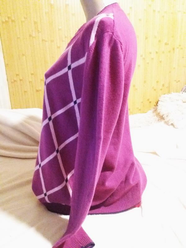Мягкий джемпер цвета фуксии с кашемиром,50-54разм.,moutoveni c... - Фото 5