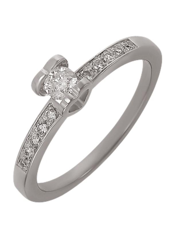 Бриллиантовое кольцо белое золото 585, бриллиант хитовая помол...