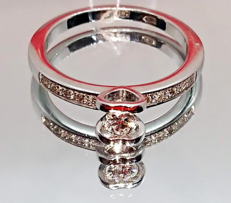 Бриллиантовое кольцо белое золото 585, бриллиант хитовая помол... - Фото 2