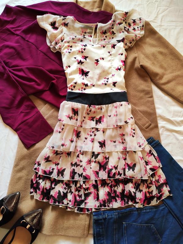 Next платье белое светлое бежевое приталенное с бабочками с во... - Фото 4