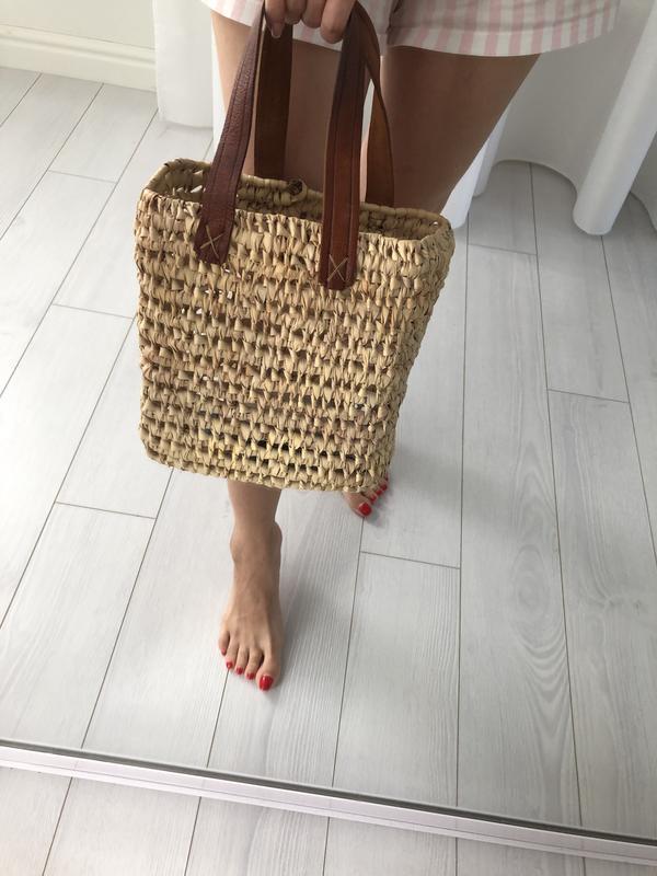 Соломенная плетёная сумка шоппер