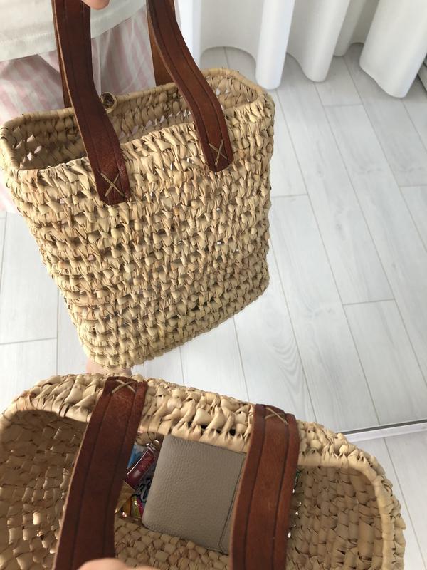 Соломенная плетёная сумка шоппер - Фото 2
