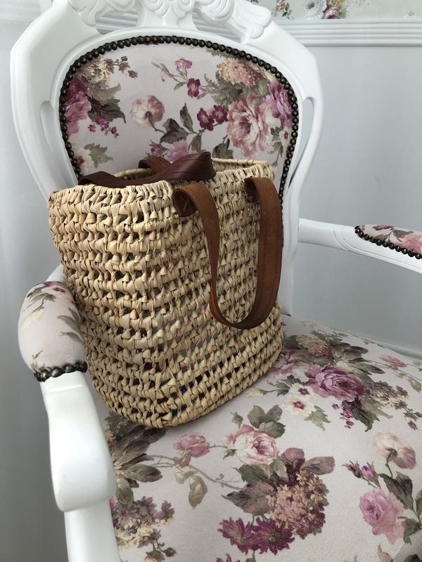 Соломенная плетёная сумка шоппер - Фото 3