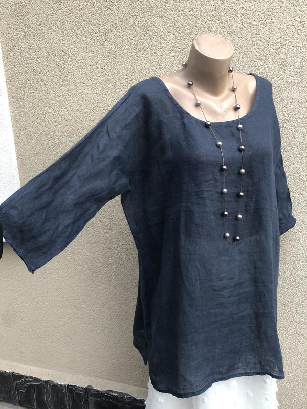 Блуза реглан,рубаха лён,туника,платье,этно бохо стиль, - Фото 8