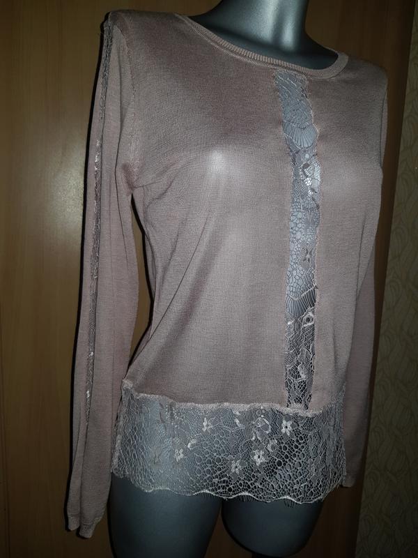 Легкий свитер кофта с кружевом - Фото 4