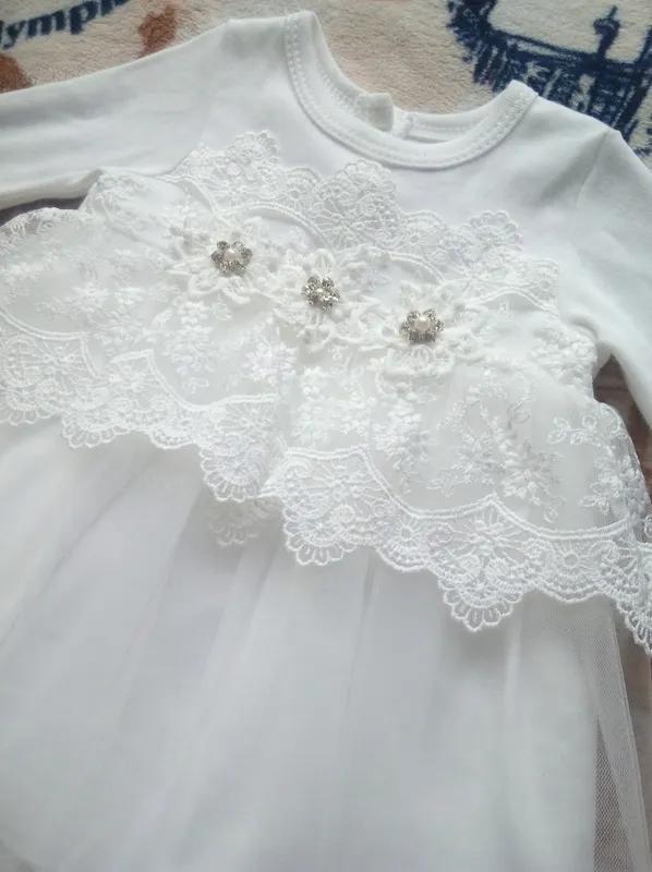 Платье белое нарядное праздничное Турция, р. 68 (6-9 мес.) - Фото 4