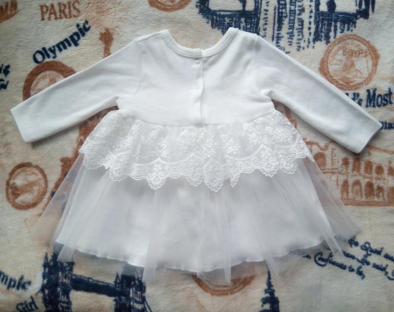 Платье белое нарядное праздничное Турция, р. 68 (6-9 мес.) - Фото 7