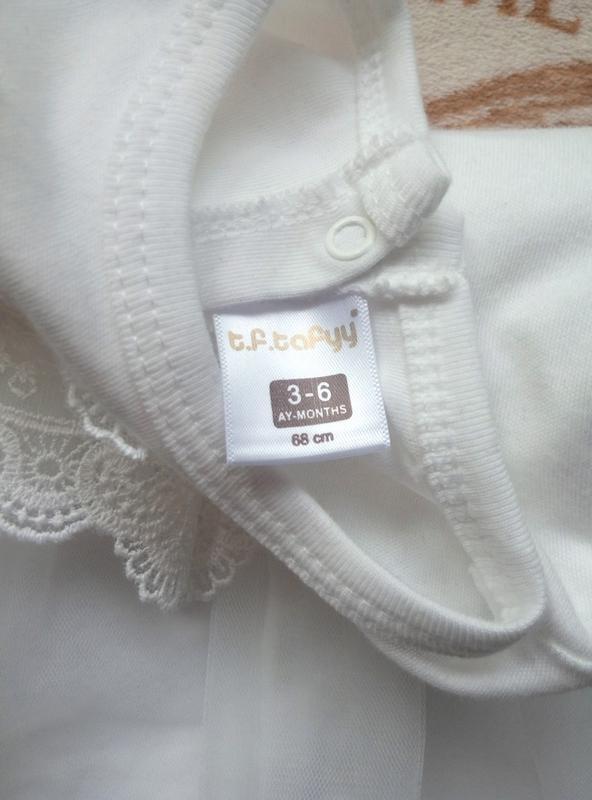 Платье белое нарядное праздничное Турция, р. 68 (6-9 мес.) - Фото 8