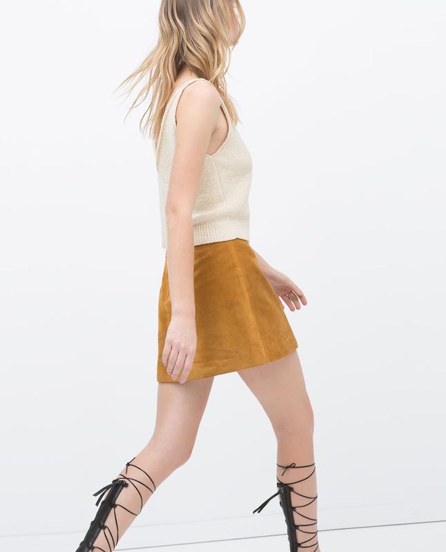 Натуральная замшевая /кожаная юбка zara