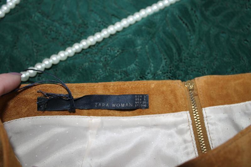 Натуральная замшевая /кожаная юбка zara - Фото 3