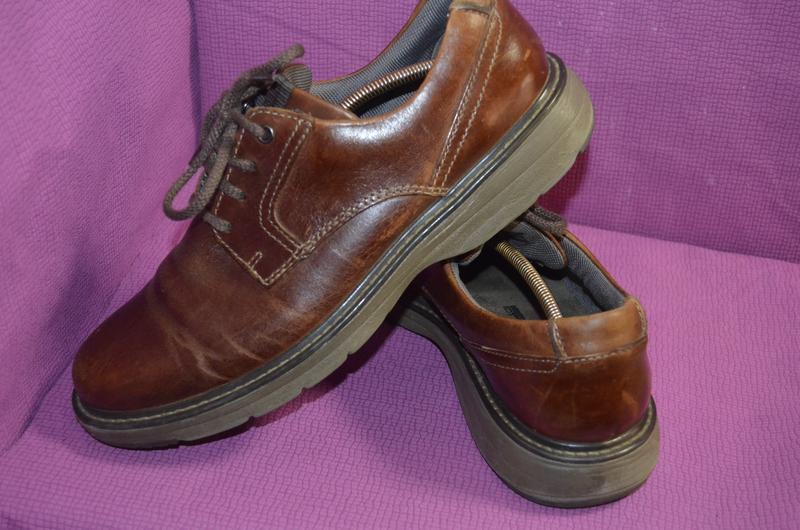 Добротные мужские кожаные туфли clarks - Фото 5
