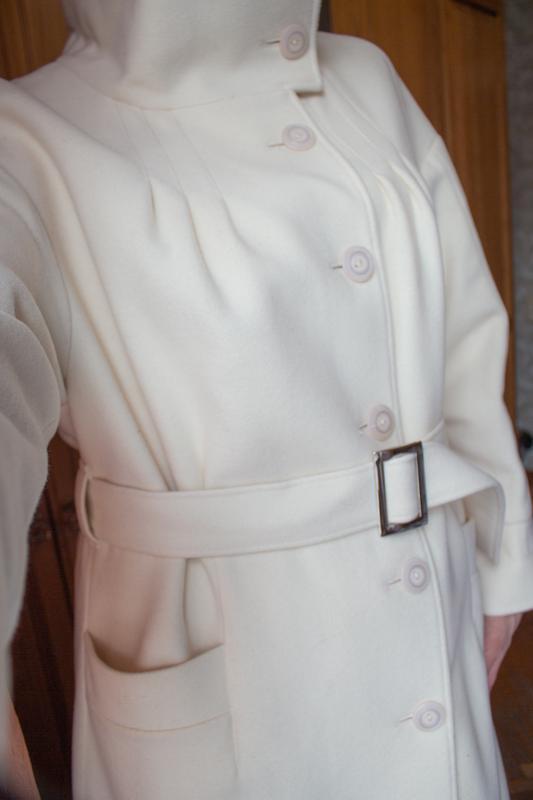 Пальто белое бежевое арбер - Фото 4