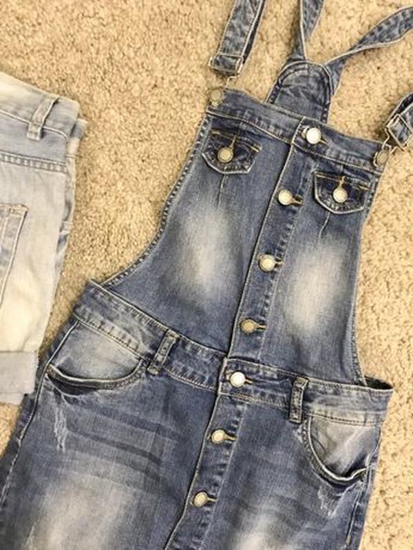 Комбинезон джинсовый юбка - Фото 2