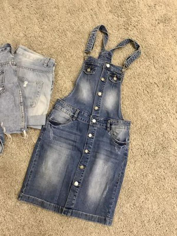 Комбинезон джинсовый юбка - Фото 3