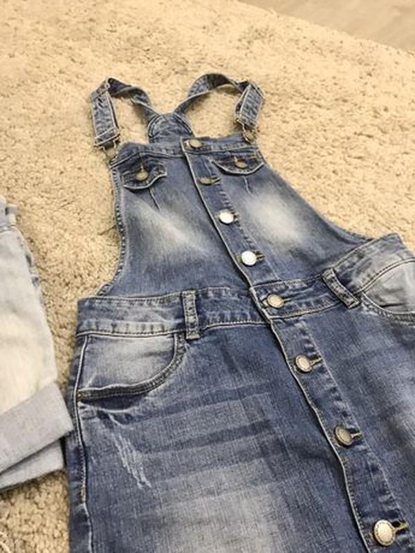 Комбинезон джинсовый юбка - Фото 6