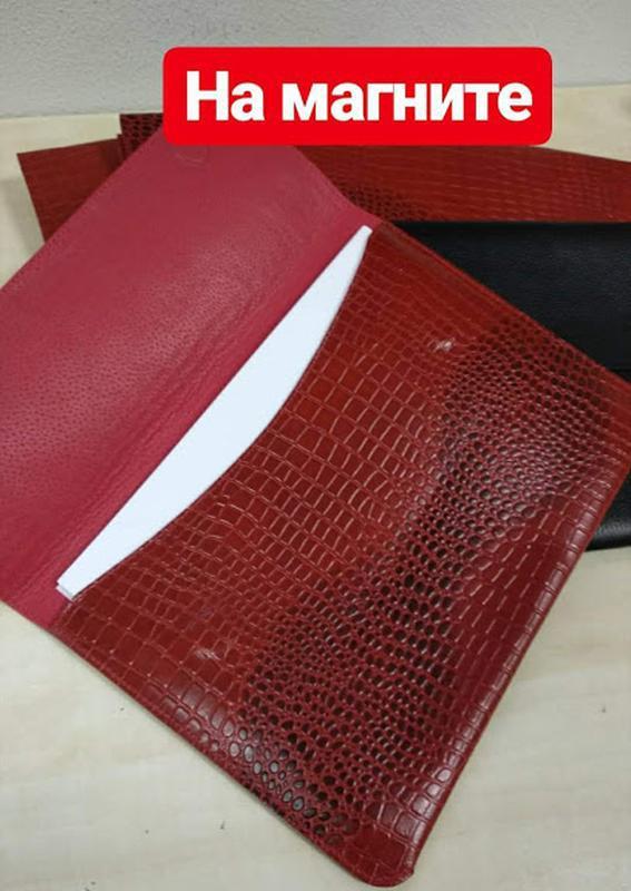 Папка-конверт для документов кожаная а4 crez-801 красный крокодил - Фото 2