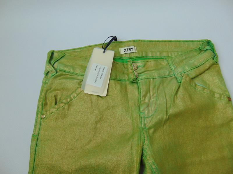 Зеленые укороченные брюки  xtsy 40 р. италия - Фото 4