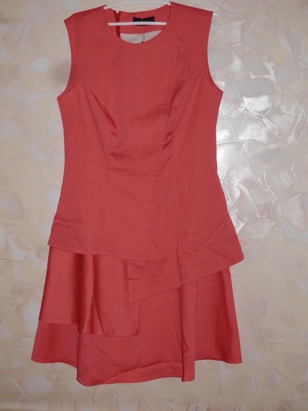 Расклешенное платье от bgl кораллового цвета - Фото 2