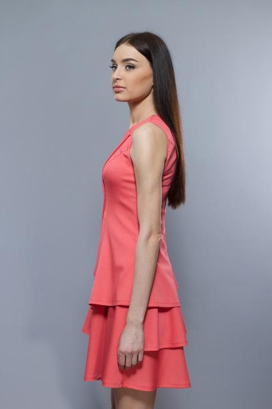 Расклешенное платье от bgl кораллового цвета - Фото 4