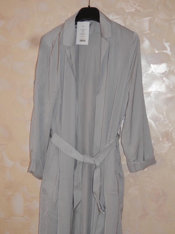 Длинное атласное пальто h&m р-р 32/34 - Фото 3